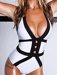 Women's Plunging Bandeau One-piece,Color Block Polyester White