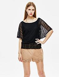 les femmes heartsoul de sortir t-shirt simple été, col rond solide ½ manches longueur blanc / polyester noir mince