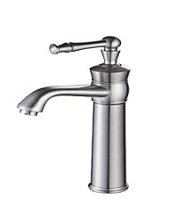 Bathroom Faucet Sink Vessel Single Handle Lever Mixer Tap, Brushed Nickel Lavatory Faucets Tall Body