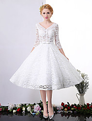 A-line Wedding Dress Tea-length V-neck Lace with Lace