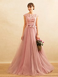 Formal Evening Dress A-line Jewel Sweep / Brush Train Lace / Tulle with Beading