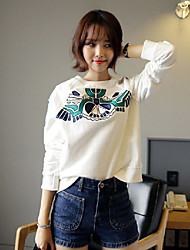 Women's Casual/Daily Boho Sweatshirt Print Round Neck Micro-elastic Cotton Long Sleeve Fall Winter