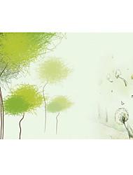 Shinny Leather Effect Large Mural Wallpaper Cartoon Green Tree Art Wall Decor Wall Paper