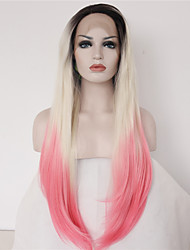 Fashion Long Straight Synthetic Lace Front Wig Glueless Three Tone Ombre Color Wigs