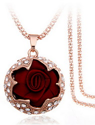Exquisite Crystal Rose Flower Pendant Necklace Jewelry for Lady