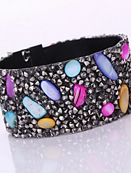 Fashion Women Stone Rhinestone Magnet Alloy Buckle Leather Bracelet
