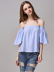 Women's Sexy Boat Neck Strapless Mandarinwm Sleeve Stripe Plus Size Top