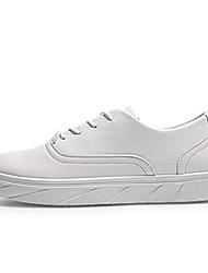 Femme-Sport-Noir / Blanc-Talon Plat-Confort-Sneakers-Polyuréthane