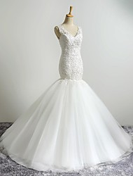 Mermaid / Trumpet V-neck Sweep / Brush Train Wedding Dress with Appliques by LAN TING BRIDE®