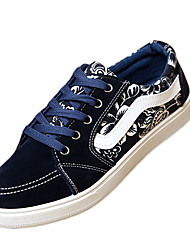 Men's Shoes Fleece / Fabric Casual Sneakers / Flats Casual Walking  Applique / Split Joint / Lace-up Black / Blue