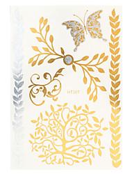 1pc Water Transfer Decal Gold Silver Butterfly Flash Metallic Women Hair Body Art Temporary Tattoo Sticker HT307