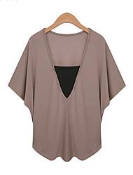 Женский На каждый день Лето Блуза V-образный вырез,Большие размеры Однотонный Белый / Черный / Коричневый Рукав ½,Модал,Тонкая