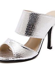 Women's Summer Comfort Leatherette Outdoor Stiletto Heel Silver Gold