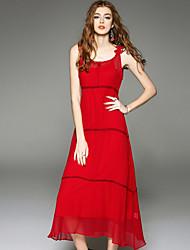 Mulheres Reto Vestido,Casual Sensual / Moda de Rua Sólido Com Alças Médio Sem Manga Vermelho Seda / Poliéster Verão