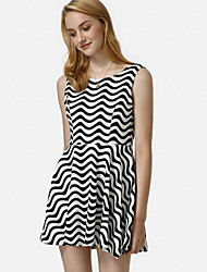 Women's Striped White/Black Dress,Cute Crew Neck Sleeveless