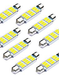 Jiawen 10pcs / lot feston 42mm 1.8W 9 x 5730 smd led blanche feux de signalisation de voiture (dc 12v)