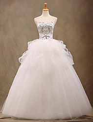A-line Wedding Dress Floor-length Strapless Tulle with Beading