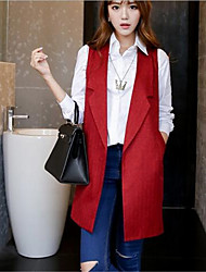 Women's Casual/Daily Street chic Summer Blazer,Print Stand Sleeveless Red / Black / Gray Polyester Medium