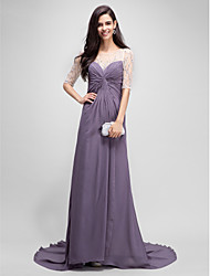 A-line Mother of the Bride Dress Floor-length Chiffon with Beading / Criss Cross
