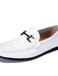 Herren-Flache Schuhe-Büro-Nappaleder-Flacher Absatz-Komfort / Boot / Mokassin-Schwarz / Gelb / Weiß