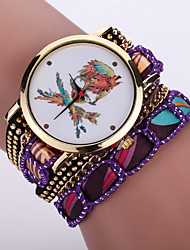 Women's Bohemian Style Fabric Band White Pirate Skull Case Analog Quartz Layered Bracelet Fashion Watch