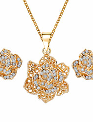 Fashion Gold Plated Rose Flower Design Necklace Earring Rhinestone Wedding Jewelry Sets Bridesmaids Gift
