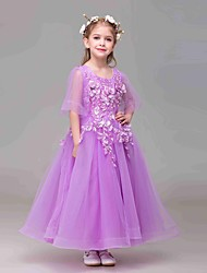 A-line Ankle-length Flower Girl Dress - Tulle / Polyester Half Sleeve Jewel with Flower(s)
