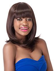 European Vogue Medium  Sythetic Dark Brown Straight  Party Wig For Women