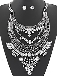 Women's European Style Fashion Simple Metal Luxury Gem Exaggerated Necklace Earrings Set