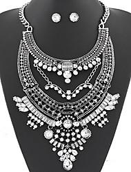 Набор украшений Ожерелье / серьги Мода Заявление ювелирные изделия Pоскошные ювелирные изделия европейский Драгоценный камень Белый Серый
