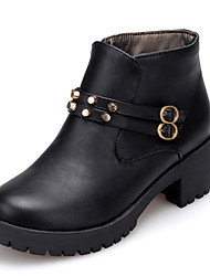 Women's Shoes Leatherette Spring / Summer / Fall Bootie Boots Outdoor / Work & Duty / Casual Chunky Heel Buckle