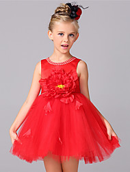 A-line Knee-length Flower Girl Dress - Cotton / Satin / Tulle Sleeveless Jewel with