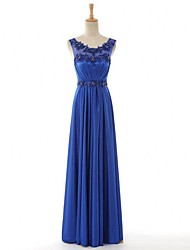 Formal Evening Dress Sheath / Column Scoop Floor-length Satin with Appliques / Beading