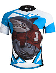 PaladinSport Men 's Short Sleeve Cycling Jersey DX643 Sharks Angry 100% Polyester