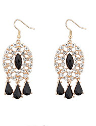 Popular Oval Hollow Flash Diamond Tassel Earrings