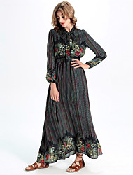 Women's Formal / Work Vintage A Line / Chiffon Dress,Print Stand Maxi Long Sleeve Gray Polyester / Others All Seasons