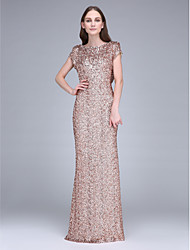 Floor-length Sequined Bridesmaid Dress Sheath / Column Bateau with Sequins