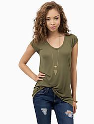 Damen Solide Einfach Lässig/Alltäglich T-shirt,V-Ausschnitt Sommer Kurzarm Grün Polyester Undurchsichtig