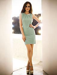 JoanneKitten Women's Round Collar Short Sleeve Beads Bodycon Mini Dress