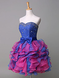 Cocktail Party Dress Ball Gown Sweetheart Short / Mini Taffeta / Velvet Chiffon with Bow(s) / Crystal Detailing / Tiers