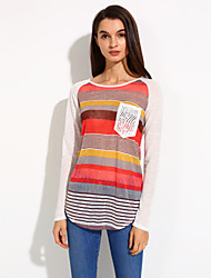 Women's Striped Blue / Red Blouse , Crew Neck ¾ Sleeve