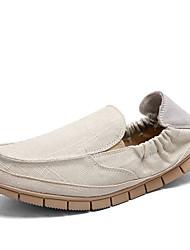 chaussures hommes toile en plein air slip-on en plein air à pied d'autres talon plat bleu / gris / beige