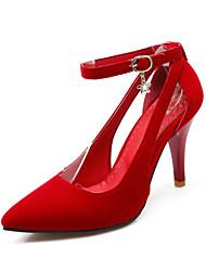 salto saltos sapatas fleece estilete das mulheres / escritório saltos toe pointed&carreira / preto casual / azul / vermelho