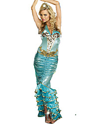 Cosplay Costumes Party Costume Mermaid Tail Fairytale Festival/Holiday Halloween Costumes Green Patchwork DressHalloween Christmas
