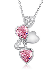 Women's Pendant Necklaces AAA Cubic Zirconia Zircon Cubic Zirconia Platinum Plated Gold Plated Heart Fashion White/Pink JewelryWedding