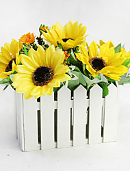 High Quality 1 Set Artificial Flowers  20cm Wooden Fence+ 2 Branch Silk Sunflowers Home Decoration