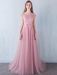A-ligne scoop neck floor length robe de soirée en dentelle en tulle avec perles