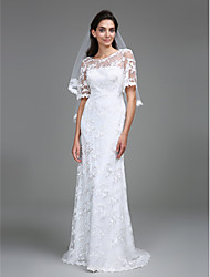 Sheath / Column Scoop Neck Floor Length Lace Wedding Dress with Lace by LAN TING BRIDE®