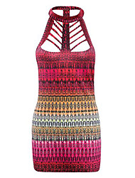 Women's Casual/Daily Street chic Hollow Out Sexy Backless Fashion Summer Tanks,Print Halter Sleeveless