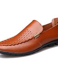Herren-Flache Schuhe-Outddor-Leder-Flacher AbsatzSchwarz Braun Gelb